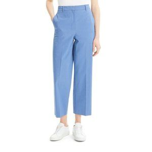 THEORY Stretch Cotton High Rise Crop Blue Pants